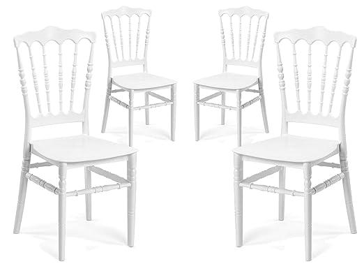 Sedie Da Giardino Bianche.Vandi Set 4 Sedie Da Giardino In Polipropilene Napoleon Bianche