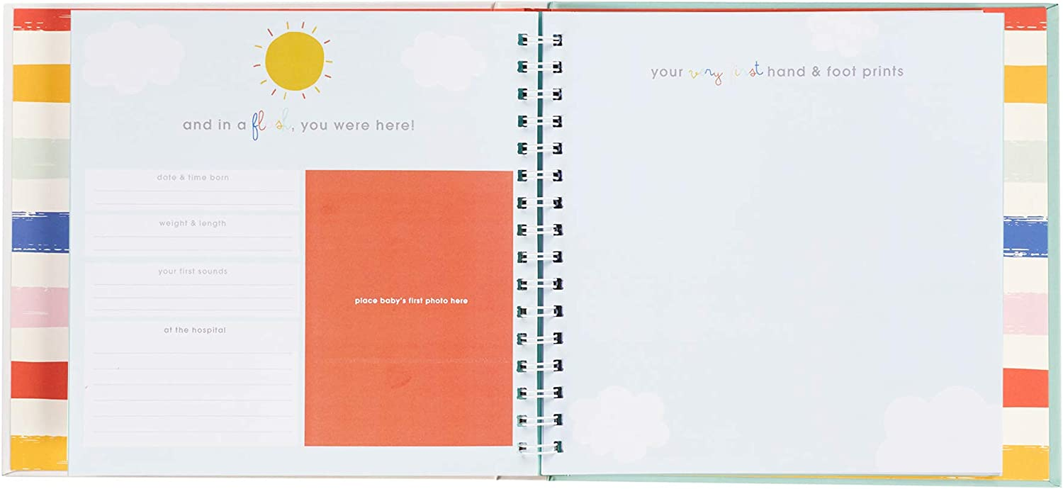 9.5 x 9 36 Pages C.R Gibson Rainbow A Book of Babys Firsts Baby First Year Memory Book with Ink Pad