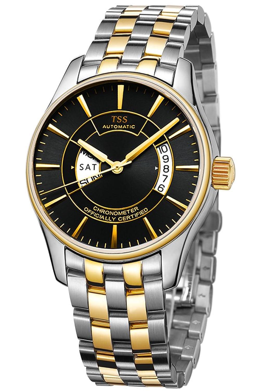 TSS Herren Schwarz Ziffernblatt Golden Hand Edelstahl zweifarbig Band Quarz-Uhrwerk Armbanduhr