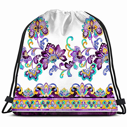 Gorgeous Watercolor Paisley Horizontal Border Beauty Fashion Drawstring Backpack Gym Dance Bags For Girls Kids Bag Shoulder Travel Bags Birthday Gift For Daughter Children Women ()