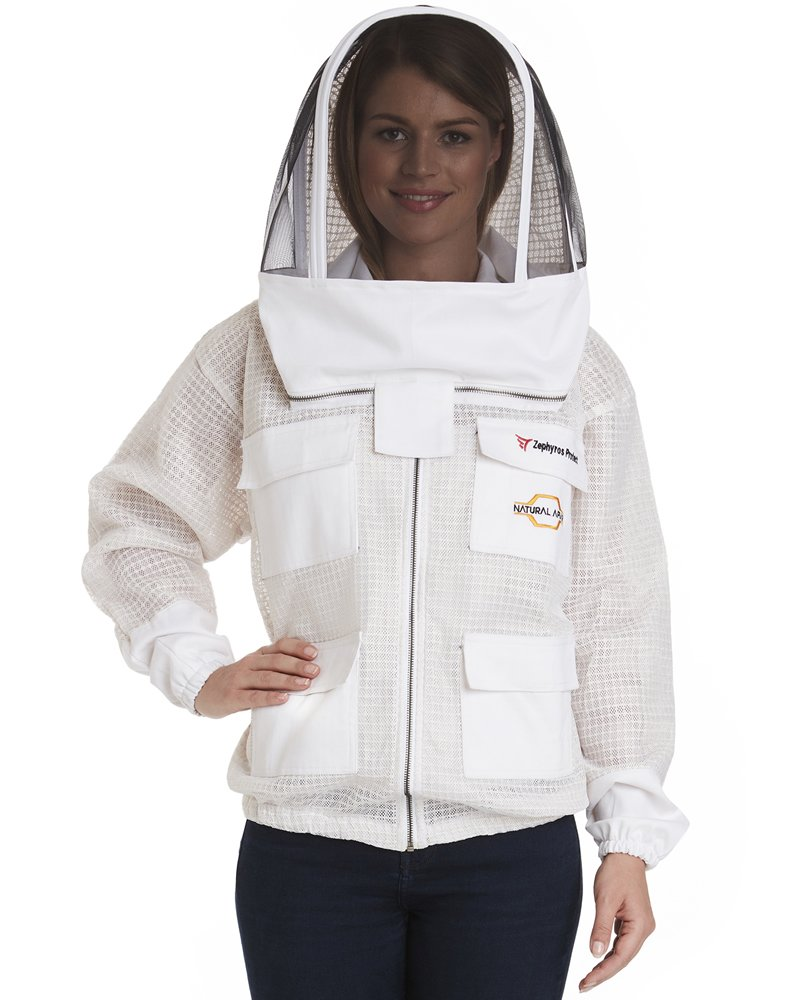 NATURAL APIARY - ZEPHYROS PROTECT Beekeeping Jacket - White - Clear View Fencing Veil - Keep Fresh & Comfortable with Maximum Protection - Professional & Beginner Beekeepers - Large by Natural Apiary