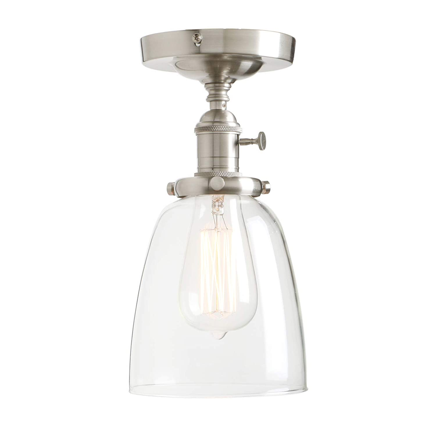 Permo Vintage Industrial Semi Flush Mount Ceiling Light Fixture Pendant Lighting with Oval Cone Clear Glass Shade (Brushed)