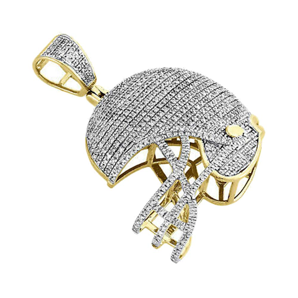 14k Yellow Gold Over 2.00 Ct Round Cut Simulated Diamond Sport Helmet Pendant With 18 Chain Silver