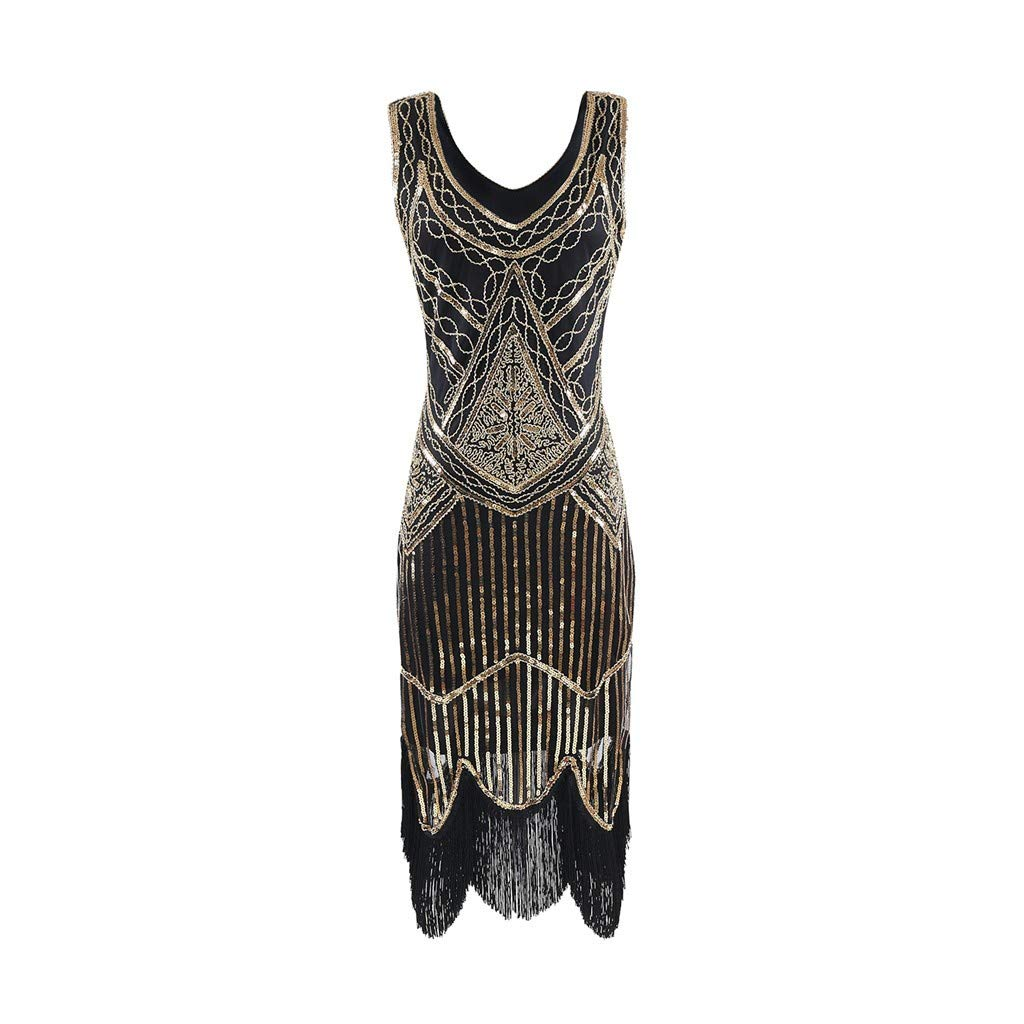 TIMEMEAN Womens Dresses Clothes Lace Sleeveless V Neck 1920s Flapper Gatsby Charleston Deco Sequins Vintage Retro Long Maxi Dress