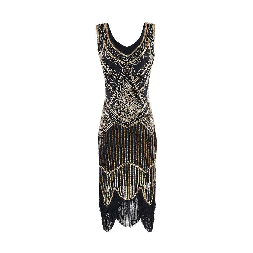 Women's 1920s Dress V Neck Sequin Art Deco Fringed Gatsby Flapper Dress for Prom