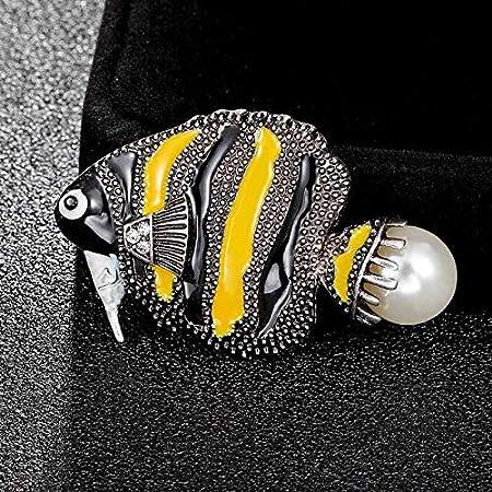 Amarillo con Jet Enamel Broche de Pescado Ramo para Mujeres Niños Broche de Perlas de imitación Gorras 3 * 4.8cm