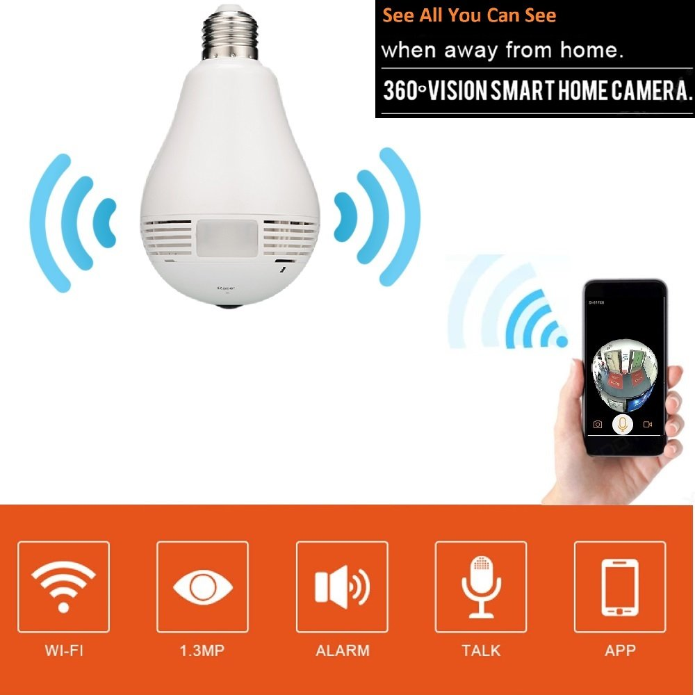 Light Bulb Camera 360 Degree FishEye Security Panoramic Camera For IOS/Android