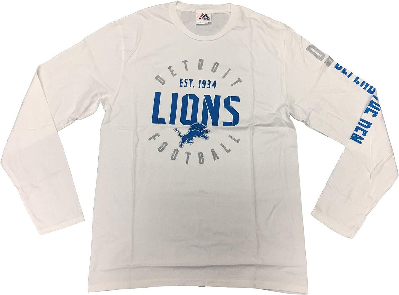 Majestic Detroit Lions Mens Long Sleeve White Crew Neck T-Shirt