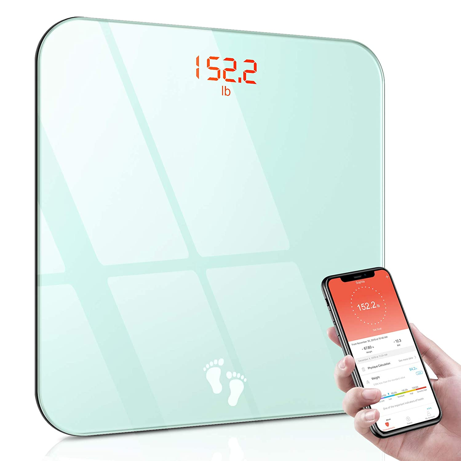 Matone Digital Scale for Body Weight, Smart Bluetooth Bathroom Scale with Smartphone App & Easy-to-Read Backlit LED Display, BMI Weight Scale, Step-on Technology, Sturdy Tempered Glass, 400 lbs