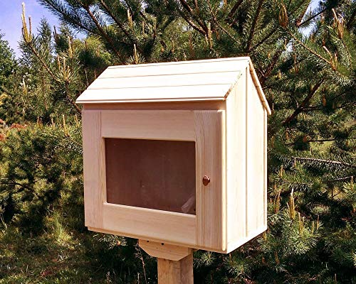 Unfinished Metal Miniature - Unfinished little free library. Outdoor. Fully assembled. Natural wood.13