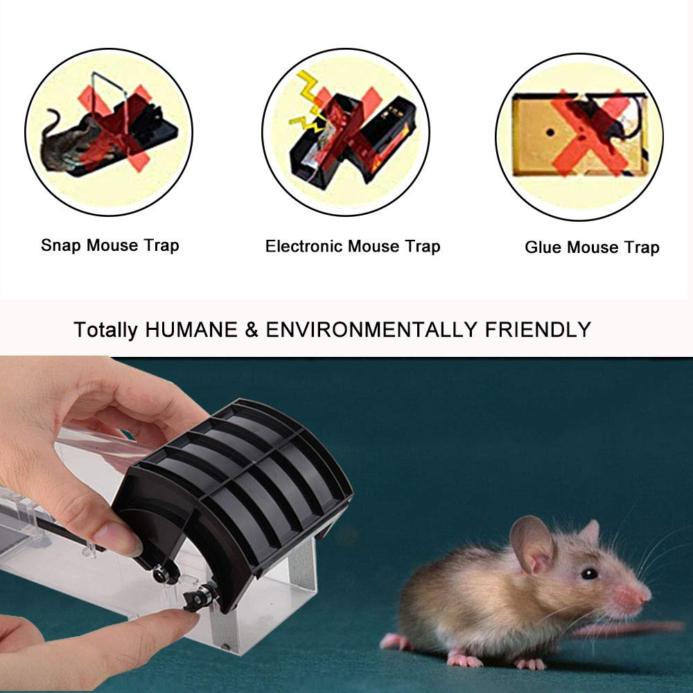 Ales Humane Mouse Trap, Reusable Rodent Trap No Kill, Plastic Catch and Release Trap, 1 Pack