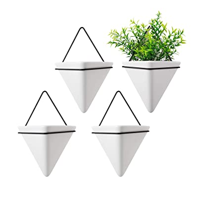 T4U Triangle Wall Planter, Set of 4 Hanging Planter Vase & Geometric Planter Wall Decor Air Plant Container for Home and Office Decoration Birthday Wedding Gift (Medium, White): Garden & Outdoor