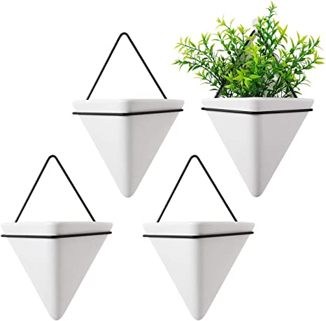 T4U 4 Inch Diamond Wall Planter Geometric Wall Vases Marble White Set of 4 Ceramic Mounted Succulent Air Plant Flower Pots Cactus Faux Plants Containers White Modern Indoor Decor for Home and Office