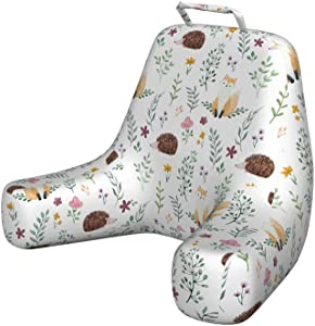 Ambesonne Forest Foam Reading Pillow, Rural Wildlife Pattern with Hedgehog and Baby Fox in Watercolors Kids Nature Theme, Shredded Visco Bedrest with Washable Cover and Pocket, X-Large, Brown Blue
