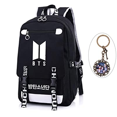 Youyouchard KPOP BTS Bangtan Boys BTS New Logo Backpack BTS Schoolbag BTS Large capacity Backpack with A Vintage Keychain Jimin Jung Kook JIN(Black 1): Toys & Games