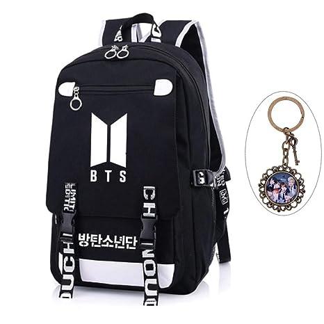 Amazon.com  Youyouchard Kpop BTS Bangtan Boys BTS New Logo Backpack BTS  Schoolbag BTS Large Capacity Backpack with A Vintage Keychain Jimin Jung  Kook ...