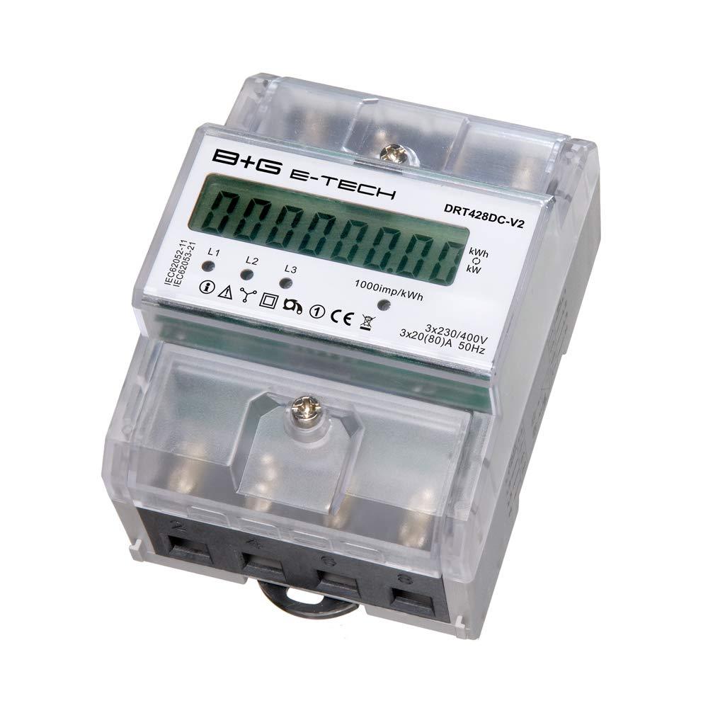 B+G E-Tech DRT428DC-V2 - digitaler Stromzä hler Drehstromzä hler fü r DIN Hutschiene mit S0 1000 Imp/kWh bei 30ms und Rü cklaufsperre B+G E-Tech GmbH