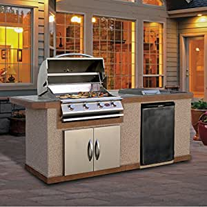 Cal Flame LBK-710-A Outdoor Kitchen Island with 4-Burner Built-In Grill, 7'/Medium