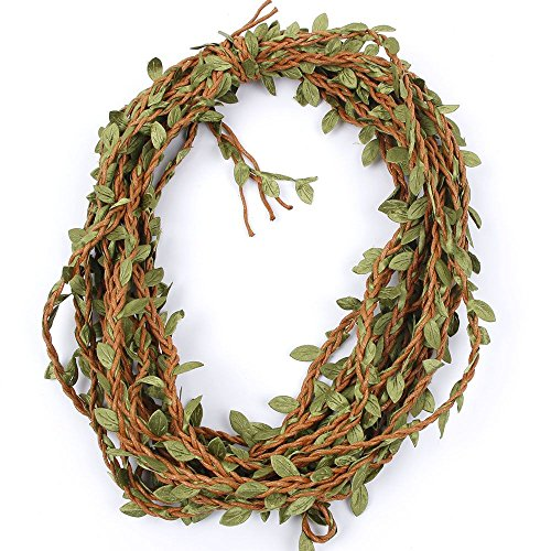 ICYANG 33 Feet Natural Leaves Twine String, Creative Burlap Leaf Ribbon 5MM with Artificial Green Leaves, Perfect Braided Decorated Vine for Art & Crafting Home Packing Decoration and Party - Vines Nature
