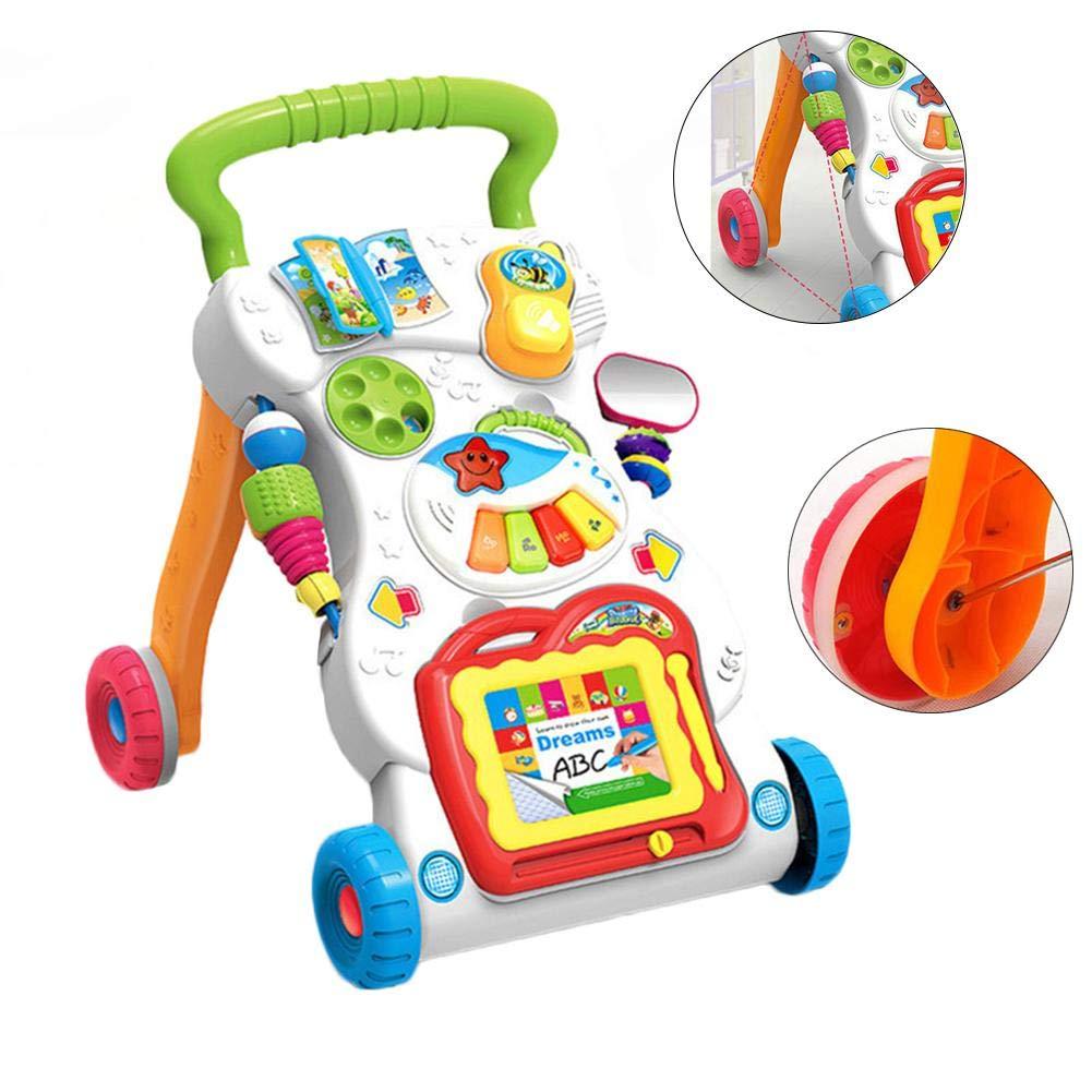 Oddity 3 in 1 Kombikinderwagen Lauflernhilfen Kinderwagen Spielzeug Anti-rollover Walker Multifunktionale Buggys Lerntisch Spielzeug f/ür Kleinkinder Jungen M/ädchen