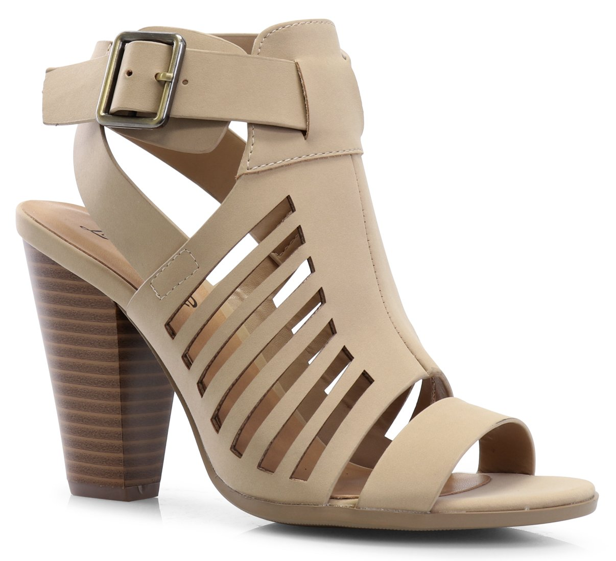 LUSTHAVE Women's Yvonne Laser Cut Sandal - Sexy Wood Stacked Heel - Strappy Open Toe Shoes Natural 8