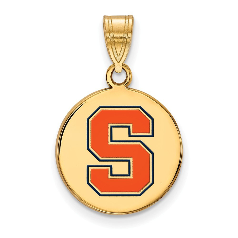 Solid 925 Sterling Silver with Gold-Toned Syracuse University Medium Enamel Disc Pendant