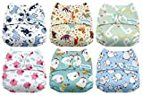 #2: Mama Koala One Size Baby Washable Reusable Pocket Cloth Diapers, 6 Pack with 6 One Size Microfiber Inserts (Funky Farm)