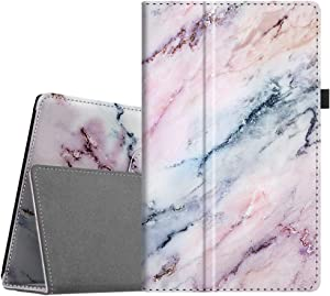 Fintie Folio Case for Amazon Fire HD 10 Tablet (Compatible with 7th and 9th Generations, 2017 and 2019 Releases) - Premium PU Leather Slim Fit Stand Cover with Auto Wake/Sleep, Marble Pink