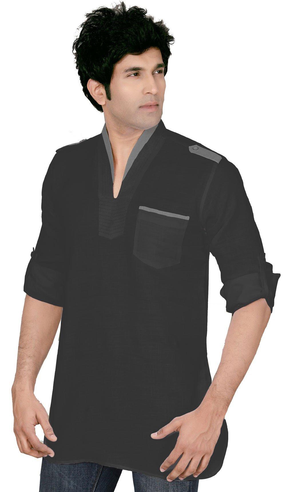 Linen Cotton Dresse Mens Short Kurta Shirt India Fashion Clothing (Black, M)