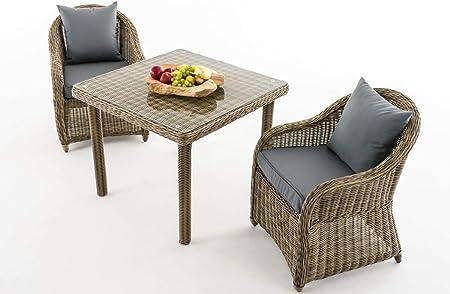 CLP San Juan - Juego de muebles de jardín (2 sillas de jardín y una mesa de comedor de 90 x 90 cm, con tablero de cristal transparente): Amazon.es: Jardín