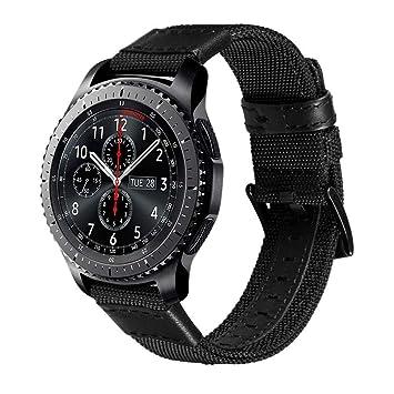 V-MORO Samsung Gear S3 Banda, 22mm Nilón Reemplazo de Banda tipo Brazalete para Reloj Samsung Gear S3 Smart Watch (Negra)