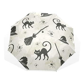 GUKENQ - Paraguas de Viaje para Gatos de Halloween, escobas y Sombreros de Bruja,