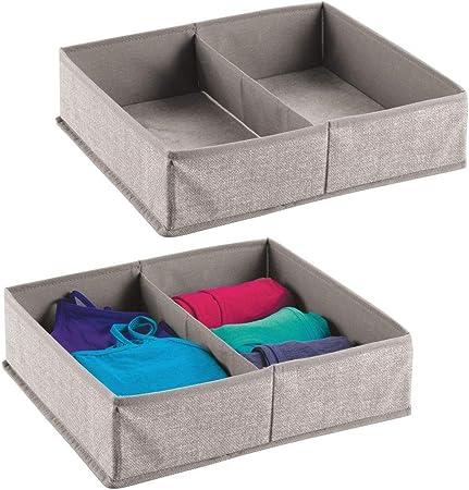 mDesign Juego de 2 caja para armario o cajón – Ideal como caja almacenaje para juguetes o como caja para guardar ropa – Son muy versátiles – Con dos compartimentos – gris: Amazon.es: Hogar