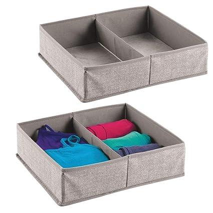 mDesign Juego de 2 caja para armario o cajón – Ideal como caja almacenaje para juguetes