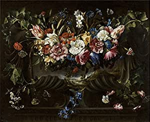 The Perfect effect canvas of oil painting 'Arellano Juan de Guirnalda de flores y cartela con paisaje 1652 ' ,size: 12 x 15 inch / 30 x 38 cm ,this Reproductions Art Decorative Prints on Canvas is fit for dining Room decor and Home decor and Gifts