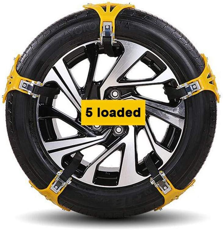 Winter Tire Security Chains Fits for Most Car//SUV//Truck Gelcool Pack of 5 Car Snow Chains Emergency Anti Slip Tire Traction Chains for Sand//Mud//Snow