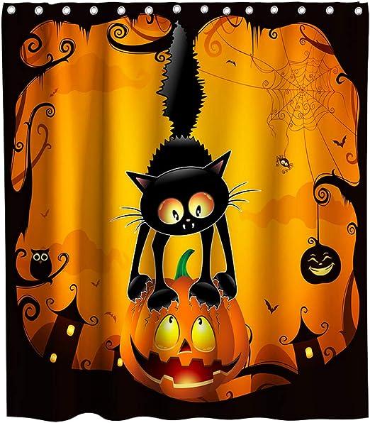 Halloween Beauty Witch Bathroom Decor Pumpkin Black Cat Shower Curtain Set Hooks