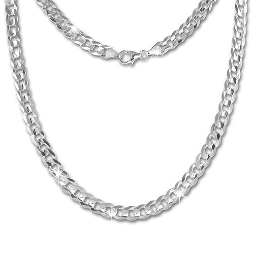 SilberDream Halskette für Damen und Herren Panzer-Kette 45cm 925 Silber facettiert 925 Silberschmuck...