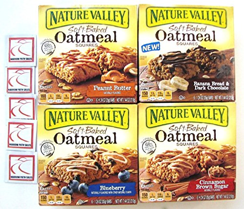 4 Pack! Nature Valley Soft Baked OATMEAL Bars Variety Bundle: Blueberry; Peanut Butter; Cinnamon Brown Sugar; Banana Bread Dark Chocolate + Sanitizing Hand Wipes. Care Package, Food Gift Basket (Amish Food Gift Baskets)