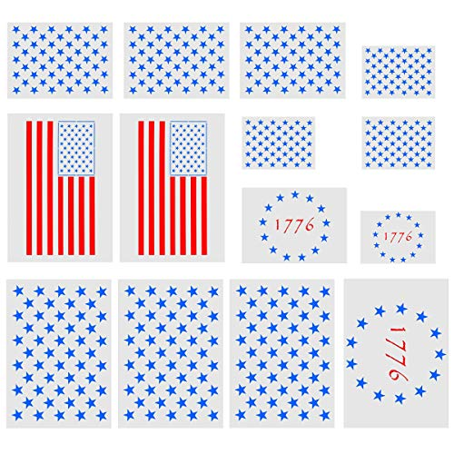 9d4d6447a82ab 14 Pack Star Stencil,9 Pieces 50 Stars American Flag Template,3 Pieces 13  Star 1776 Stencil and 2 Pieces 2 in1 USA Flag Stencil for Painting on Wood,  ...