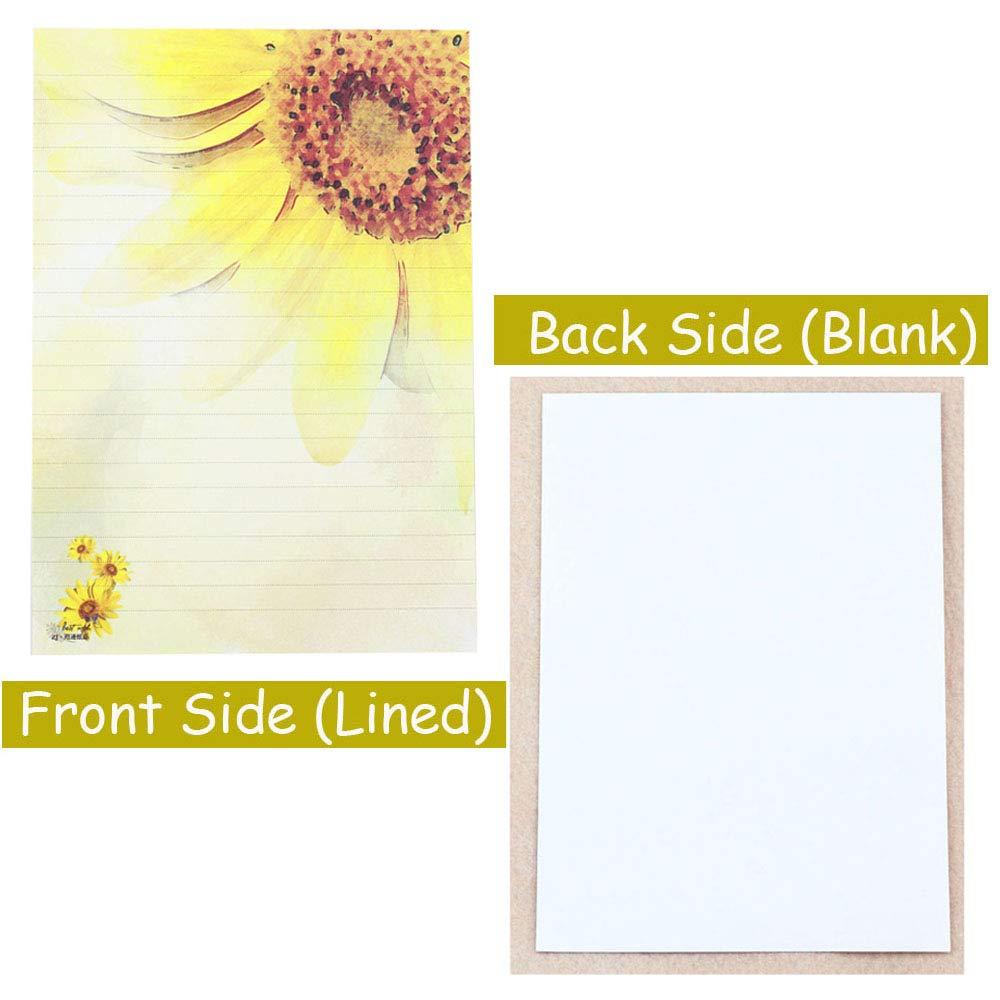 Bolbove 64 Pcs Sunflower Lovely Plant Elegant Letter Writing Stationery Paper Lined Sheets