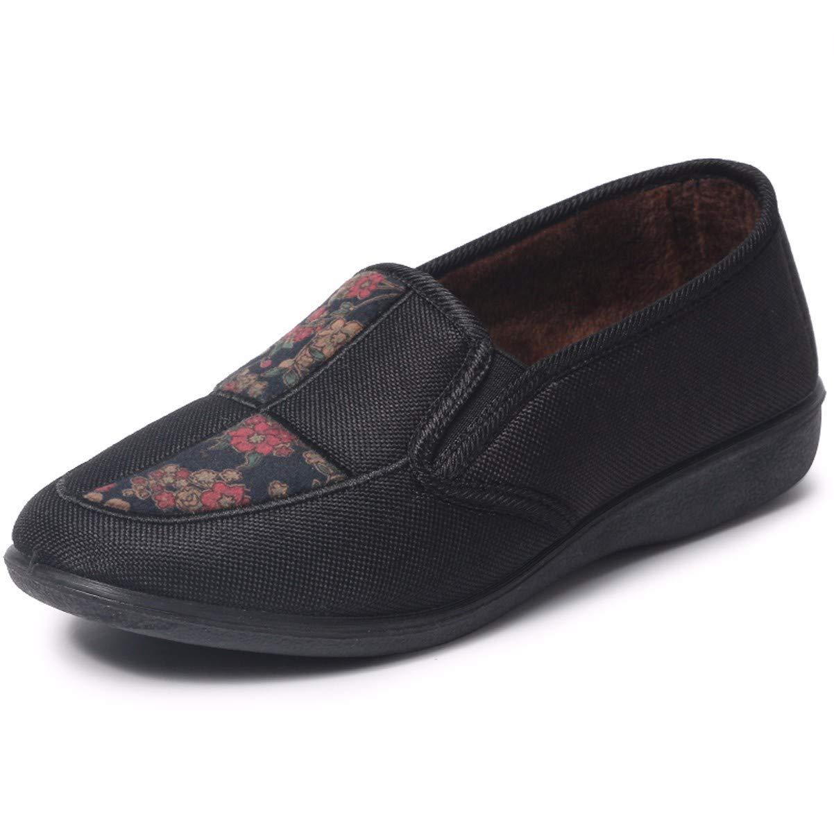Gules Forty HBDLH Chaussures pour Femmes Le Vieux Pékin Vieille Mère Tissu Chaussures D'Âge Moyen Et Les Chaussures l'hiver Au Chaud Fond Mou Dérapage Coton Chaussures Chaussures Confort Grand - Mère
