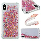 Liquid Case for iPhone X,Floating Case for iPhone X,Leecase Luxury Beauty Bling Shiny Sparkle Glitter Cover Rose Gold Love Heart Quicksand Flowing Creative Design Crystal Transparent Clear Plastic Soft TPU Protective Shock Proof Shell Case Cover Bumper for iPhone X + 1 x Free Black Stylus