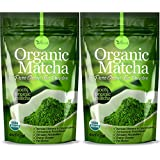 Organic Matcha Green Tea Powder - 100% Pure Matcha (No Sugar Added - Unsweetened Pure Green Tea - No Coloring Added Like Others) 4oz (2 PACK)