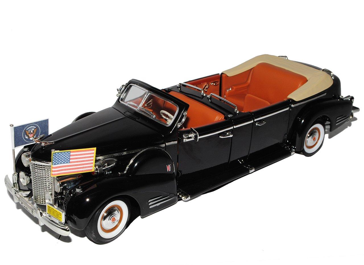 Cadillac V-16 Präsidenten Limousine Cabrio USA 1938 Stretch Schwarz Signature 1/24 Yatming Modell Auto mit individiuellem Wunschkennzeichen