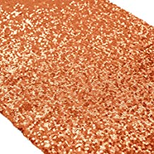 Sequin Table Runner for Christmas Orange Handmade Premium Quality Glitz Sequin Table Linen 13 by 108-lnch Sparkly Table Runner and Placemats Decoration