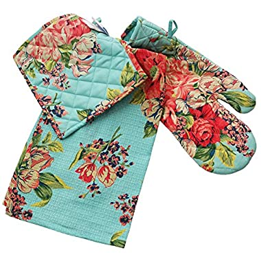 April Cornell Kitchen Set Blue Floral Teatowel, Ovenmitt & Potholder 100% Cotton