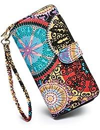 Nuevo diseño de billetera para mujer, con portatarjeta, estilo bohemio.