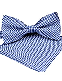 ST34 Brand New Small Plaid Cotton Mens Bow tie and Pocket square Set-Various Colors