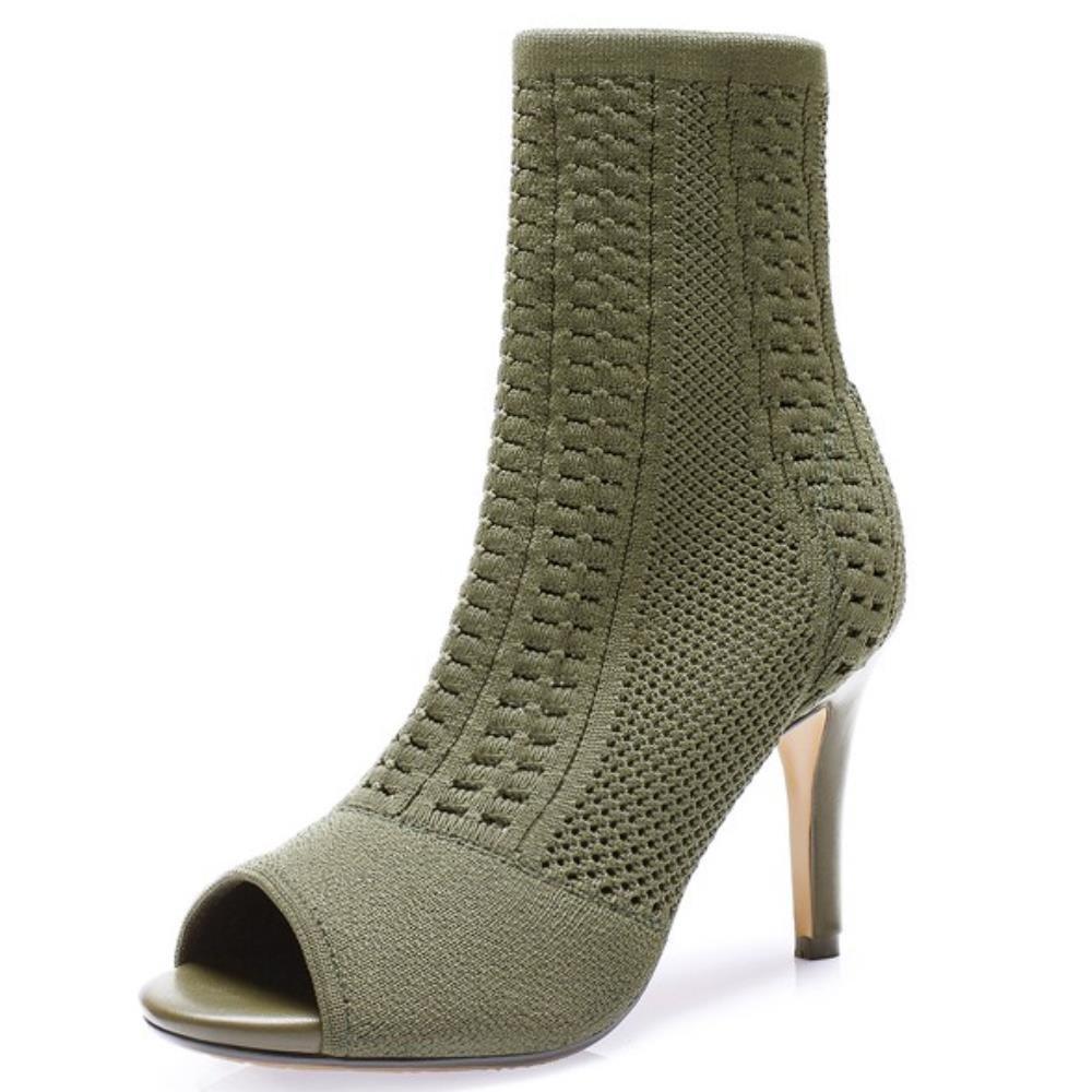 COOLCEPT Damen Fashion Stiefelies Pumps Elastic High Top schuhe Peep Toe